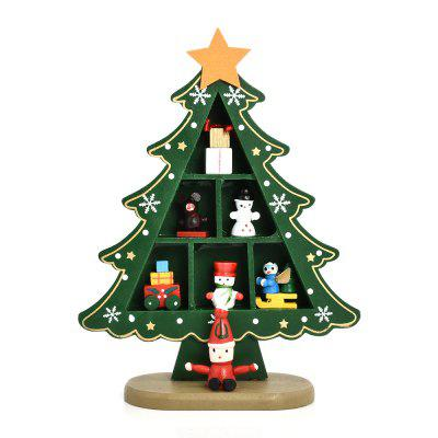 Wooden Creative Gift Checkered Christmas Tree Decoration
