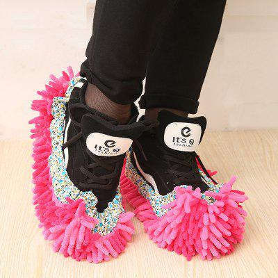Chenille Fibre Washable Dust Mop Slippers Cleaning Shoes