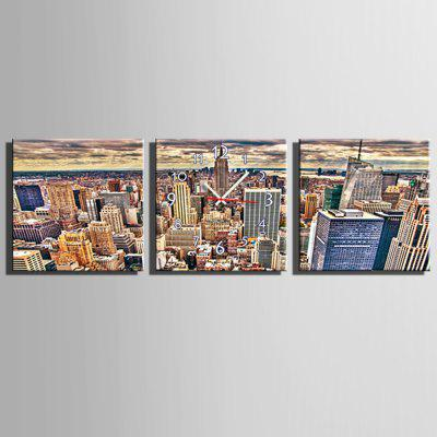 E - HOME Skyscraper Canvas Pintura Reloj de pared 3pcs