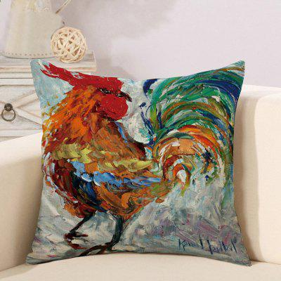 LAIMA BZ185 - 2 Cock Pattern Oil Painting Style Pillow Case