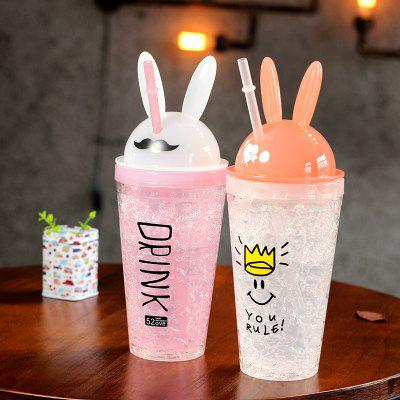 Creative Rabbit Ears Straw Cup 480ML 1PCWater Cup &amp; Bottle<br>Creative Rabbit Ears Straw Cup 480ML 1PC<br><br>Material: PP<br>Package Contents: 1 x Cup, 1 x Straw<br>Package size (L x W x H): 26.00 x 11.00 x 7.00 cm / 10.24 x 4.33 x 2.76 inches<br>Package weight: 0.4000 kg<br>Product size (L x W x H): 25.30 x 9.50 x 5.00 cm / 9.96 x 3.74 x 1.97 inches<br>Product weight: 0.2000 kg<br>Style: Animal<br>Type: Water