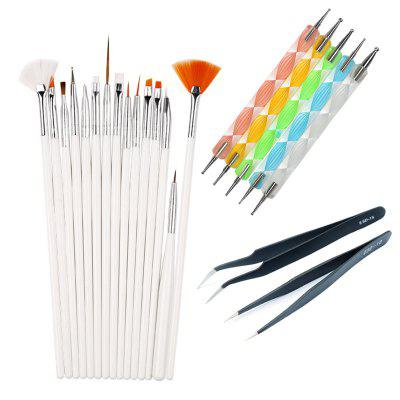 Manicure Point Drill Tools Brushes Tweezers Pen Set