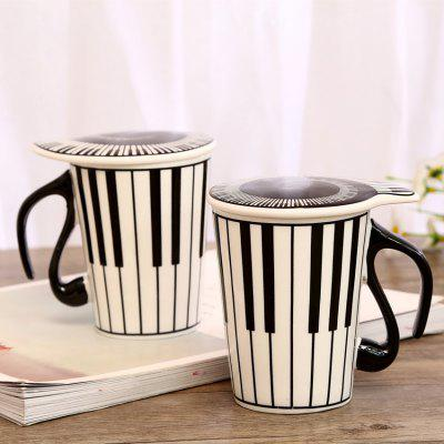 Creative Ceramic Music Coffer Cup Mug with Cover