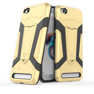 Anti-shock Protective Cover Case for Xiaomi Redmi 5ACases &amp; Leather<br>Anti-shock Protective Cover Case for Xiaomi Redmi 5A<br><br>Features: Anti-knock, Back Cover, Cases with Stand, Dirt-resistant<br>Mainly Compatible with: Xiaomi<br>Material: TPU, Silicone, PC<br>Package Contents: 1 x Case<br>Package size (L x W x H): 21.00 x 12.00 x 3.00 cm / 8.27 x 4.72 x 1.18 inches<br>Package weight: 0.0540 kg<br>Product Size(L x W x H): 14.45 x 7.45 x 1.33 cm / 5.69 x 2.93 x 0.52 inches<br>Product weight: 0.0430 kg<br>Style: Cool