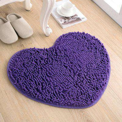 Soft Heart Shaped Door Mat Creative Fluffy Chenille Carpet
