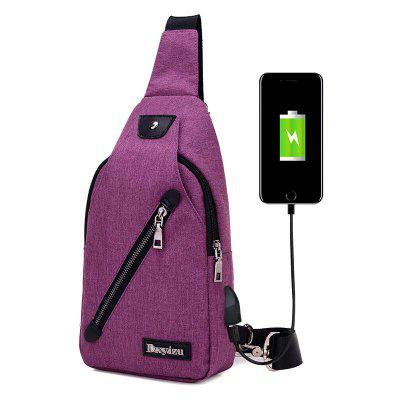 032 USB Port Waterproof Sling Bag