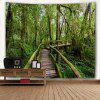 Wall Hanging Art Forest Ponte de madeira Print Tapestry - VERDE