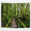 Wall Hanging Art Forest Wooden Bridge Print Tapestry - GREEN
