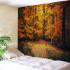 Wall Hanging Art Maple Forest Path Print Tapestry - GOLD BROWN