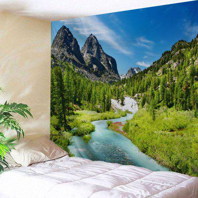 Mountain Forest Stream Print Wall Tapestry