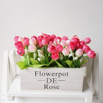 LmDec Artificial Flower with White Wood Pot