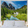 Mountain Forest Stream Print Wall Tapestry - COLORMIX