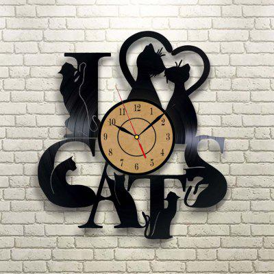 Timelike Retro Cats Pattern Vinilo Reloj de pared de cuarzo