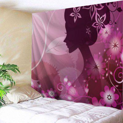 Beauty Girl Flowers Print Tapestry Wall Hanging Decor
