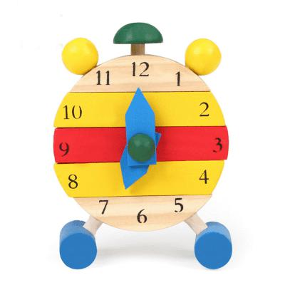 Children Wooden Alarm Clock Early Education Toy