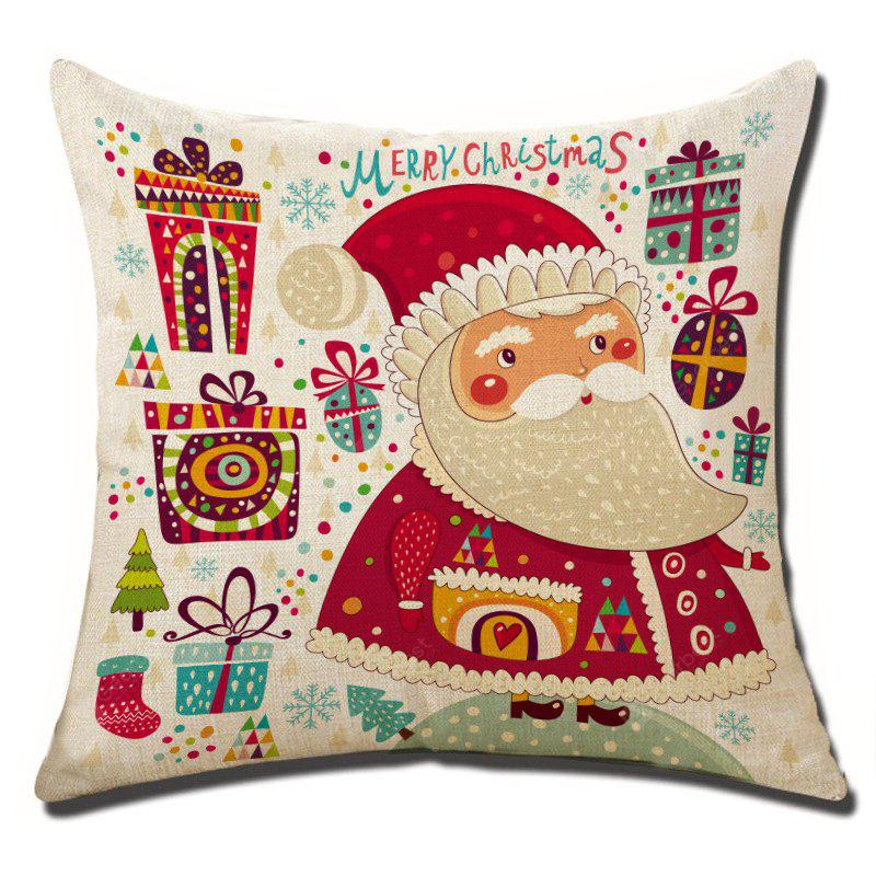 Christmas Flax Throw Pillow Case Square Decor Cushion Cover