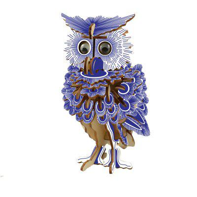 3D DIY Owl Model Wooden Jigsaw Puzzle Toy