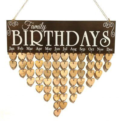 Love Heart Wooden DIY Family Birthday Calendar Reminder Board