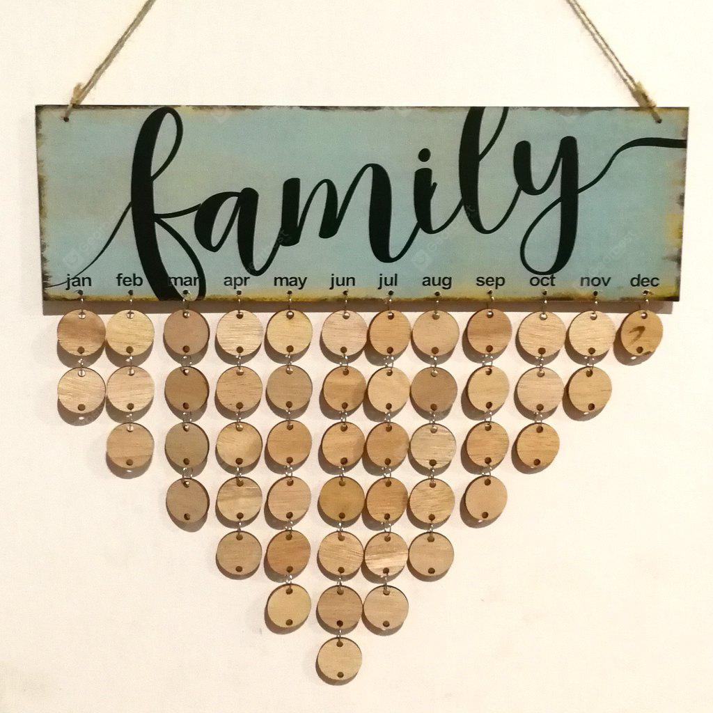 DIY Wooden Family Birthday Calendar Reminder Board Wall Hanging