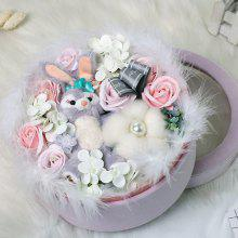 XM Romantic Valentine Soap Flowers Rabbit Doll Lint Box