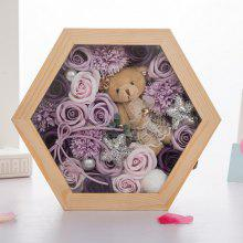 XM Valentine Soap Flowers Plush Bear with Wood Box