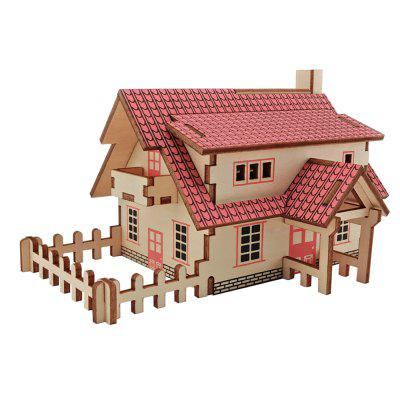DIY 3D Wooden Western Style House Intelligence Gift Toy