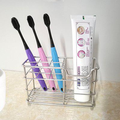 Buy SILVER Stainless Steel Toothbrush Toothpaste Shaver Storage Rack for $8.38 in GearBest store
