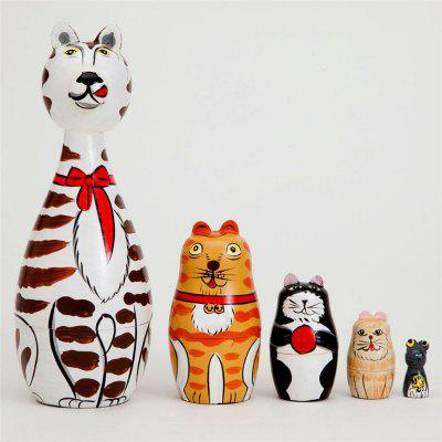 WUIBN Russian Nesting Matryoshka Doll Cat Family Toy Gift 5pcs