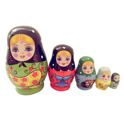 WUIBN Russian Nesting Matryoshka Doll Girl Toy Gift Decoration 5pcs