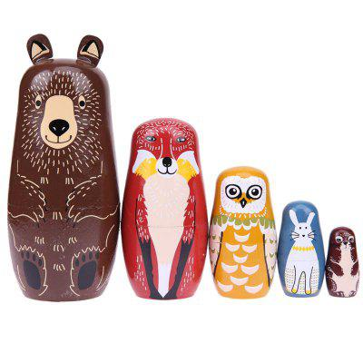 Brown Bear Style Russian Nesting Matryoshka Dolls Gift 5PCSMovies &amp; TV Action Figures<br>Brown Bear Style Russian Nesting Matryoshka Dolls Gift 5PCS<br><br>Completeness: Finished Goods<br>Gender: Unisex<br>Materials: Wood<br>Package Contents: 5 x Toy<br>Package size: 7.00 x 7.00 x 16.00 cm / 2.76 x 2.76 x 6.3 inches<br>Package weight: 0.2500 kg<br>Product size: 6.50 x 6.50 x 15.50 cm / 2.56 x 2.56 x 6.1 inches<br>Product weight: 0.2300 kg<br>Stem From: Other<br>Theme: Animals