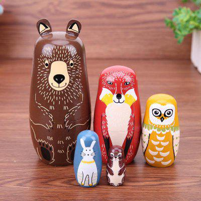WUIBN Brown Bear Style Russian Nesting Matryoshka Dolls Gift 5PCS