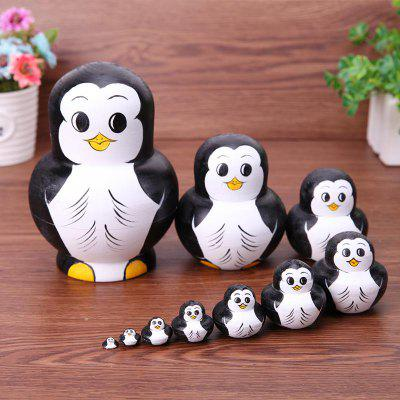 WUIBN Ten Layers Penguin Russian Nesting Matryoshka Doll Decoration