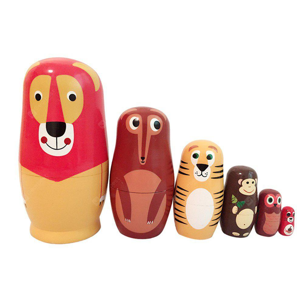 WUIBN Six Layers Animal Style Russian Anhing Matryoshka Muñeca de regalo