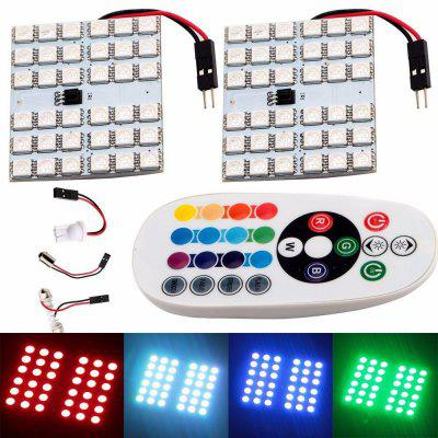 T10 RGB 36 LEDs SMD 5050 Lights Set with Remote ControllerCar Lights<br>T10 RGB 36 LEDs SMD 5050 Lights Set with Remote Controller<br><br>Apply To Car Brand: Universal<br>Connector: T10<br>LED Quantity: 36<br>LED Type: SMD 5050<br>Lumen: 300lm<br>Package Contents: 2 x SMD 5050 LED Light, 1 x Remote Controller, 2 x T10 Light Adapter, 2 x Feston Light Adapter<br>Package size (L x W x H): 13.00 x 6.00 x 3.00 cm / 5.12 x 2.36 x 1.18 inches<br>Package weight: 0.0950 kg<br>Power: 5W<br>Product weight: 0.0700 kg<br>Type: Roof light, Reading Lights, Decorative Light<br>Type of lamp-house: LED<br>Voltage: 12V