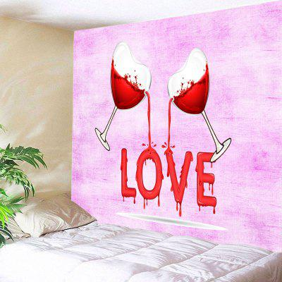 Wine Love Pattern Tapestry Valentine  's Day Wall Decoration