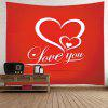 Valentine's Day Hearts Print Tapestry Wall Decoration - RED