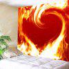 Flaming Heart Print Tapestry Valentine's Day Wall Decoration - ORANGE RED