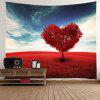 Heart Tree Print Tapestry Valentine's Day Wall Decoration - RED
