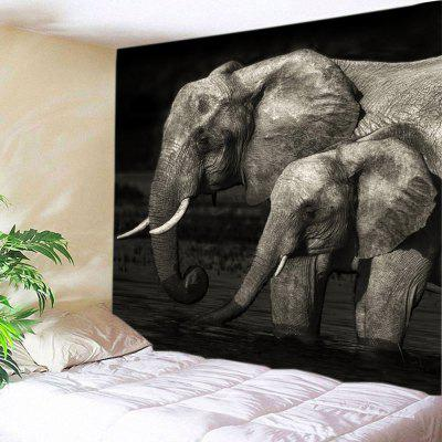 Elephants Cross River Print Tapestry Wall Hanging Decor