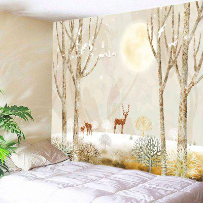 Moon Night Elks Print Tapestry Wall Hanging Decoration