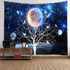 Galaxy Tree Print Tapestry Wall Hanging Decoration - BLUE