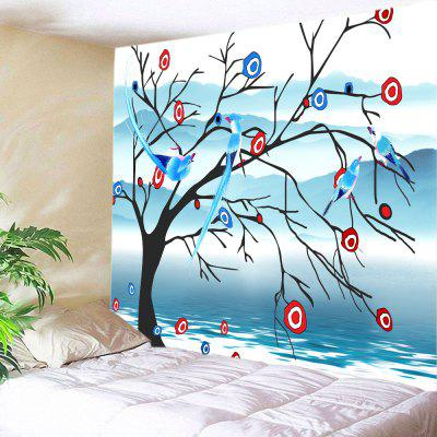 Birds On Floral Tree Print Tapestry Wall Hanging Decoration