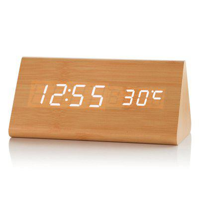 Voice-activated Triangle Wooden Digital Alarm Clock
