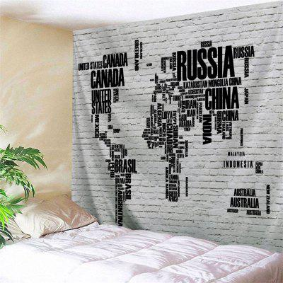Letter Print World Map Brick Wall Tapestry