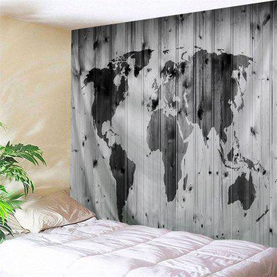 Wall Hanging World Map On The Wood Board Print Tapestry