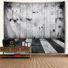 Stars and Stripes Woodgrain Print Tapestry Wall Hanging - BLACK WHITE