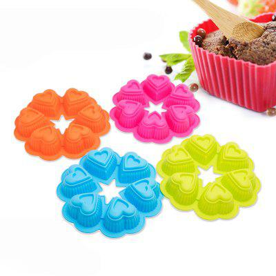 DIY Heart-shaped Design Cake Mold Silicone Bakery Tool 1pc