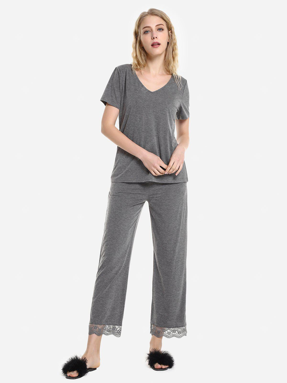 V Neck Sleepwear Short Sleeve Pajama Set