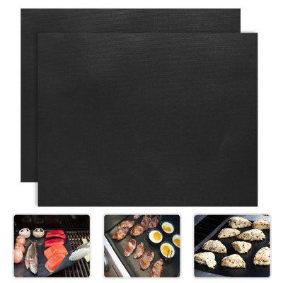 """Set of 2 Non-Stick BBQ Grill Mats, FDA Approved, PFOA free, Reusable, Heat Resistant and Easy to Clean, for Outdoor Picnic Cooking Barbecue, 16"""" x 13"""", Black"""