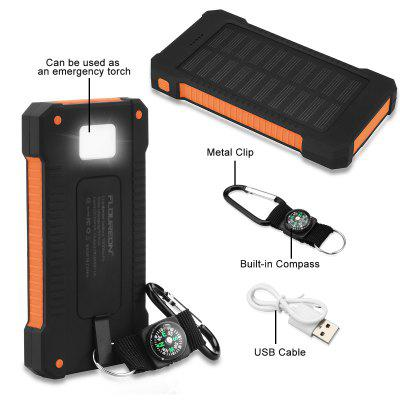 Floureon 10000mAh Solar Power Bank Orange - ORANGE